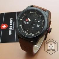jam tangan pria kulit analog swis army