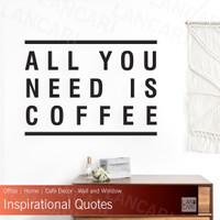 Sticker Cutting Coffee Quotes Cafe Kafe Shop Dinding Kaca window Wall