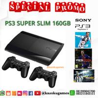 PS3 PS 3 SONY PLAYSTATION 3 SUPER SLIM SS 500GB HITAM FULL GAME+2STICK - Satu Enam Puluh