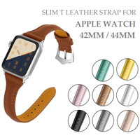 Slim T Leather Strap Band Stainless Buckle for APPLE WATCH 42MM 44MM