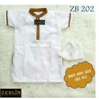 ZERLIN Baju Muslim Koko Gamis Anak Bayi Laki laki Warna Putih Emas