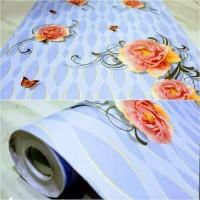 Walpaper Dinding 10m x 45cm Biru Bunga Mawar
