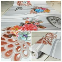 Walpaper Dinding Bunga Warna Warni 10m x 45cm