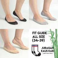 Kaos Kaki pendek hidden wanita flat shoes low serat bambu arang asli