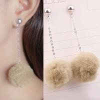 Anting Korea PomPom Long Chain Earrings DES389