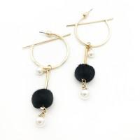 Anting Korea South Korean Pompom Pearl Round Earrings REA087
