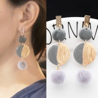 Anting Korea Geometric PomPom Wafer Earrings JN1033