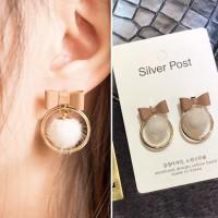 Anting Korea Bow Shape Small PomPom Earrings JN1041