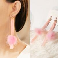 Anting Korea South Korean Ribbon Pompom Long Pendant Earrings DES846