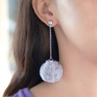 Anting Korea PomPom Long Chain Earrings DES390