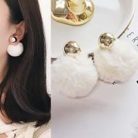 Anting Korea PomPom Copper Round Earrings DES217