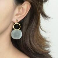 Anting Korea Round PomPom Earrings BE4028