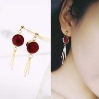 Anting Korea Round PomPom Earrings OKT087