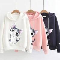 little cat sweater/sweater kucing lucu/sweater hoddie fleece wanita