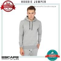 Jaket Sweater Polos Hoodie Jumper Distro ABU MISTY MUDA murah