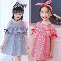 dress anak perempuan 2-10 tahun off shoulder motif garis import