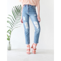 Yuan Market - Willow Rip Mom Jeans