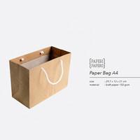 Paper Bag / Shopping Bag A4 Coklat untuk Kue & Bingkisan - 30x12x21 cm