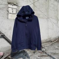 jaket zipper hoodie cp company google diagonal navy