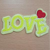 0251 Patch Emblem Motek Bordir LOVE Uk. T : 6cm L : 10cm