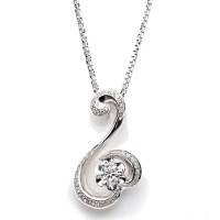Jewelry Pendant Liontin lapis Emas Putih dan Zircon