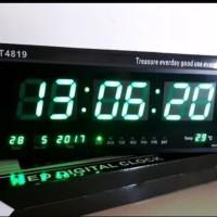 Jam Dinding LED 4819 JUMBO Angka Besar Jam Digital Warna HIJAU MURAH