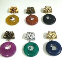 Accesoris kerudung Ring Jilbab segi empat dengan ornamen batu pilihan