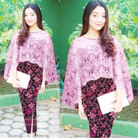 Set Cape Vania Vanya Brukat Import + Rok Katun Batik Silk Prada