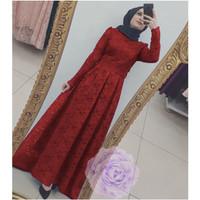 Gamis Nara Premium Brukat Tulang Corneli Tebal Maxi Long Dress Termura