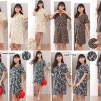 Dress Daster Baju Tidur Piyama Katun Motif Premium SleepWear Lv Fila