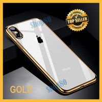 Silicone Chrome iPhone X XS Max XR Plating Silicon Softcase Clear - Hitam, XS Max