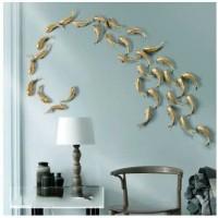hiasan dinding resin ikan koi emas 3D