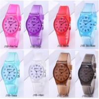 Jam tangan anak wanita remaja perempuan transparan pastel analog kado