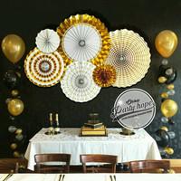 paper fan / Paper Fans Dekorasi gold / Paper Fans bunga kipas gold
