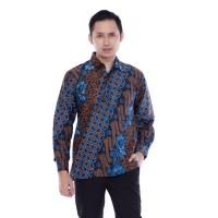 Kemeja Batik Pria Lengan Panjang Seno Biru