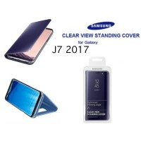 Casing Clear View Standing Cover Flip Case Mirror Samsung J7 2017 OEM