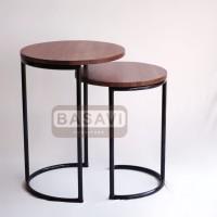Meja Tamu Kayu Solid Coffee Side Table Samping Nesting Cafe Besi rumah