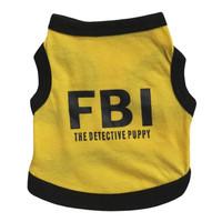 Baju Anjing Kaos Kucing Hewan Dog Clothes Cat Kostum FBI Yellow Black