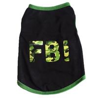 Baju anjing kaos kucing hewan dog clothes cat kostum FBI Black Green