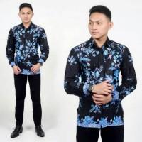 Kemeja Batik Pria Lengan Panjang Sakura Biru