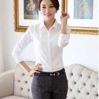 Kemeja Wanita Putih Polos Lengan Panjang Hem Kerja Formal Baju Kantor