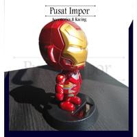 Boneka Dashboard Mobil Boneka Kepala Goyang Avengers IRONMAN MERAH