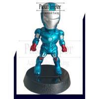 Boneka Dashboard Mobil Boneka Kepala Goyang Avengers IRONMAN BIRU