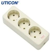 Uticon Stop Kontak Arde 3 Lubang Putih ST-138