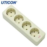 Uticon Stop Kontak Arde 4 Lubang Putih ST-148 Original
