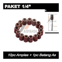 "Paket 10pc Amplas I Ampelas Drill Drum Grinder 1/4 "" dan 1pc Batang As"