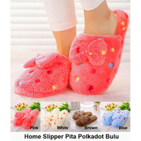 Sendal Rumah Pita Polkadot Bulu Sandal Kamar Home Slipper Indoor - 40-41, Pink