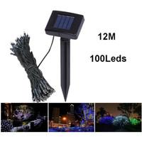 Lampu taman hias 100 LED tenaga surya anti air pagar solar cell dekor