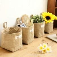 storage basket japanese jute / flower pot / keranjang penyimpanan