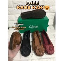 Sepatu Clarks Wanita / Clarks Bunga matahari 1 Bahan Kulit sapi asli